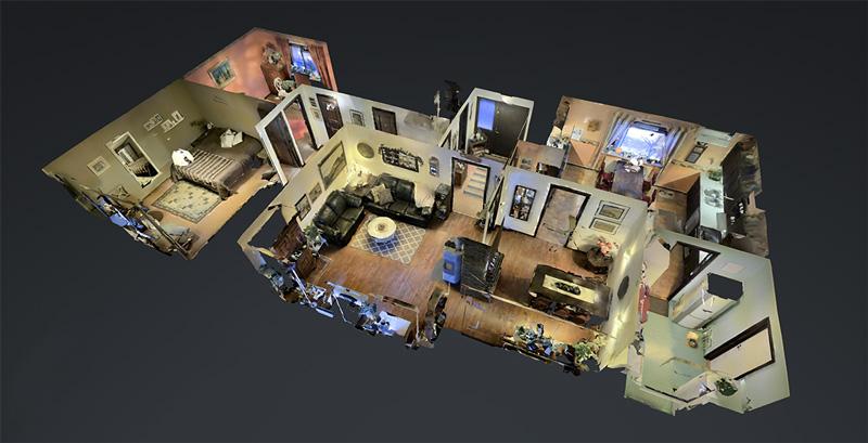 En 3D-modell av den inscannade bostaden.